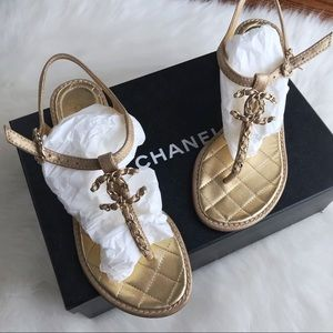 $850 NIB CHANEL Gold T-Strap Thong Sandals 36